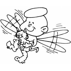 angel kitten coloring pages | Angel And Kitten Coloring Page