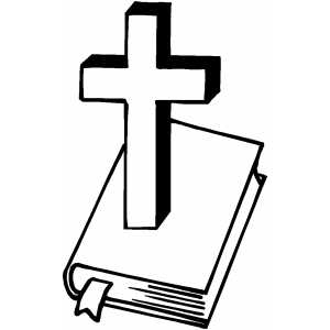 Cross And Bible coloring page