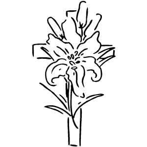 Cross And Flower coloring page