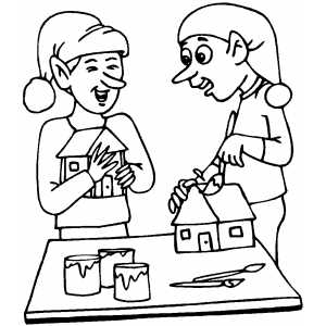 elves making toys coloring page