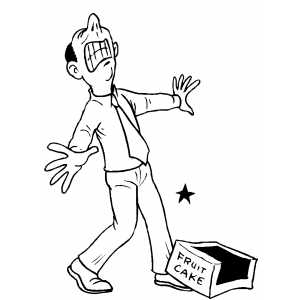 Angry Man And Fruit Cake Coloring Page