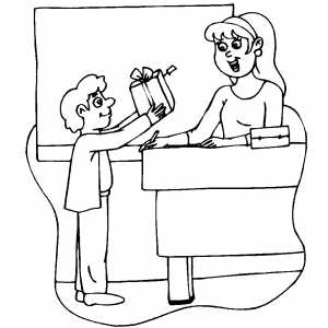 Boy Giving Teacher Gift coloring page