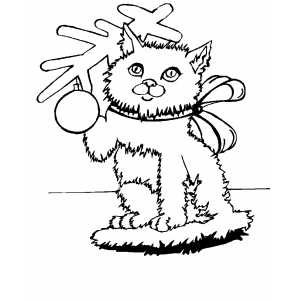 Christmas cat with bow coloring page for Christmas kitten coloring pages