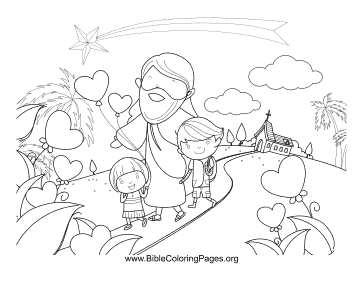 Jesus Heart Balloons Coloring Page