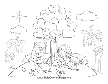 Jesus Heart Tree Coloring Page