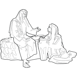 Jesus with woman at the well coloring page for Woman at the well coloring pages