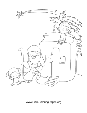 Star Of Bethlehem Scene Coloring Page