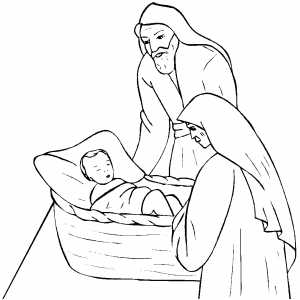 Abraham And Sarah With Isaac Coloring Page