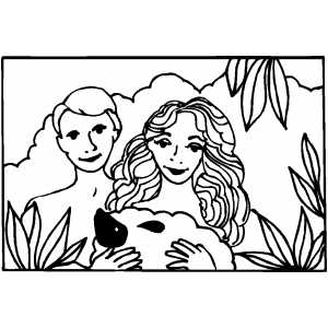 Adam With Eve coloring page