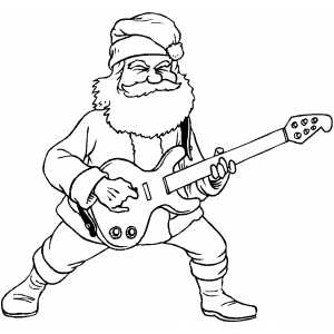 Santa rock and roll coloring page for Rock and roll coloring pages