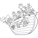 Noahs Ark with Animals Coloring Sheet